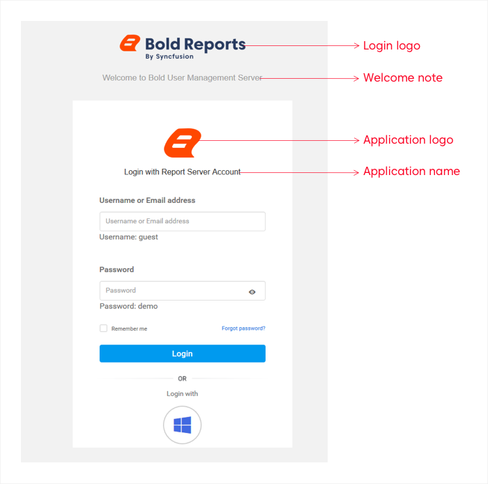Brand the Login page of Bold Report Server for your organization
